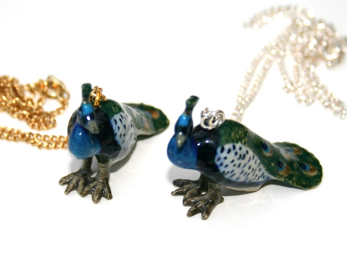 Porcelain Bird Necklace, Peacock Necklace, Animal Necklace