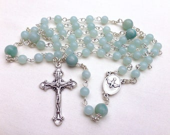 Catholic Rosary made with turquoise Amazonite beads, Gemstone rosary, Five decade rosary, Traditional rosary, Confirmation gift