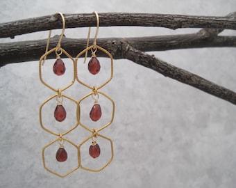 Garnet Earrings - Semi Precious Stones - Chandelier - January  Birthstone - Faceted - Gold - Windowpane -