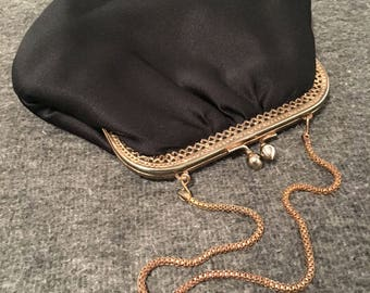 Vintage 1960s Rainee Fabric Evening Bag with Gold Tone Kiss Lock
