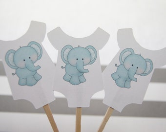 Baby Shower, Cupcake Toppers, Baby Shirt, Blue Elephant, Boy, Party Picks, Food Picks, CT018