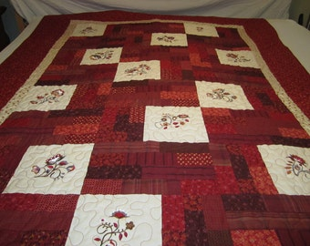 Embroidery Folk Art Flowers Quilt