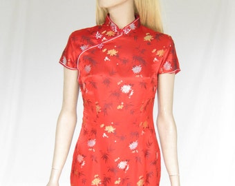 Vintage 50s Red  Cheongsam Wiggle Dress
