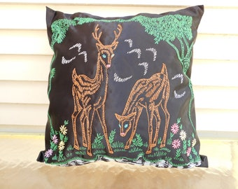 Vintage Embroidered Deer Throw Pillow, Decorative Pillow, Woodland, Cabin, RV, Home Decor