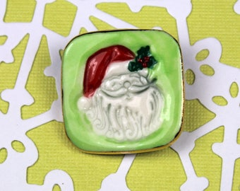 Santa Claus Pin Handmade Porcelain Jewelry Holiday Wear
