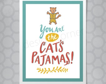 Friendship Cat's Pajamas Funny Illustrated Hand Lettered Card