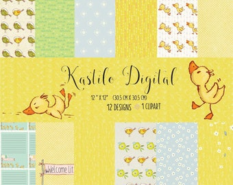 Duck Digital Paper Pack with Rubber Ducky and Bubble Patterns. Printable Papers Set. Baby Backgrounds. Digital Scrapbook Download