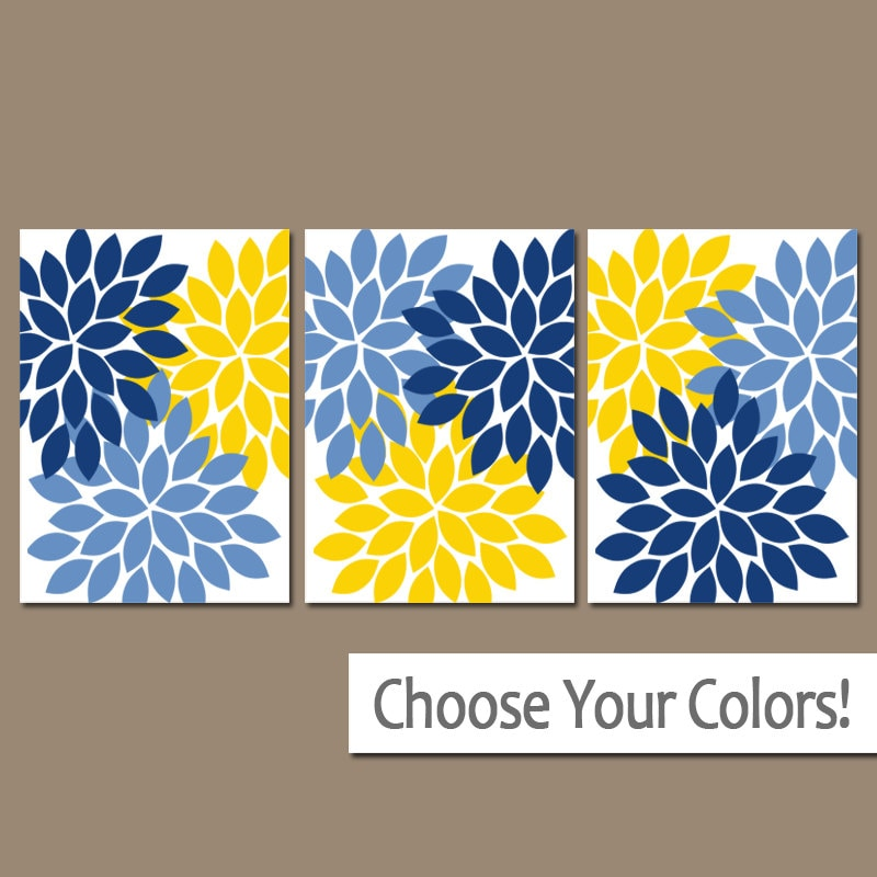 Navy Blue Yellow Bedroom Wall Decor Yellow Navy Blue Flower