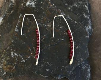 Fine silver and ruby earrings