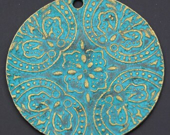 Bronze Patina Flower Pendant - 5 pieces - 40mm Disc Charms - Necklace Tags - Jewelry Supply