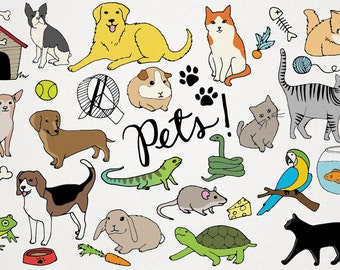 Pets Clipart - Animals clip art, Cats and dogs, hand drawn clip art, cat clip art, dog clip art, hamsters, rabbits, turtles, scrapbooking
