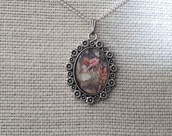 Flower Fairy Pendant on Tibetan Silver Tray with Flower Surround