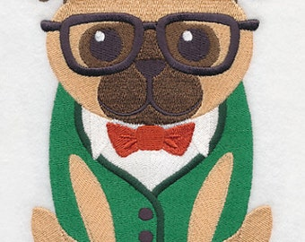 Wild with Style Mr Pug Embroidered Flour Sack Hand/Dish Towel