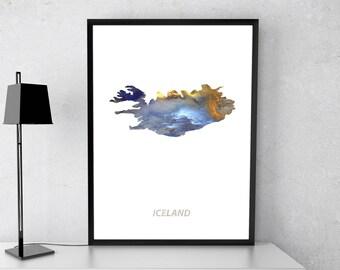 Iceland poster, Iceland art, Iceland map, Iceland print, Gift print, Poster