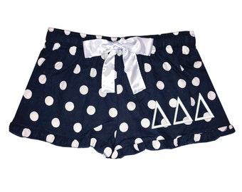 Delta Delta Delta Boxers, Tri Delt Flannel Boxers, Tri Delta Dot Flannel Boxer Shorts, Tri Delt Sorority Flannel Short, deltadeltadelta