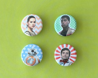 Star Wars The Force Awakens Inspired Rey / Finn / Poe / BB-8 Pinback Buttons