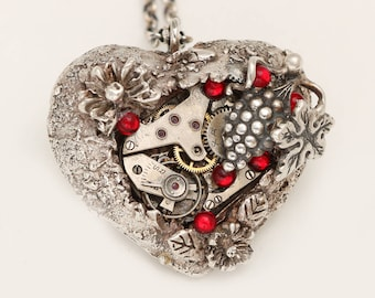 Steampunk Heart Steampunk Necklace Heart Necklace Silver Heart Necklace Fine Silver Necklace Valentines Day Gift For Her