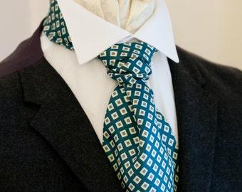 Teal Blue Diamond Pattern Vintage Italian Silk Cravat Ascot