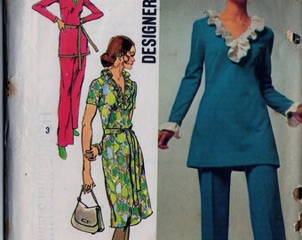 """Vintage Sewing Pattern Designer Fashion Simplicity 9518 Womens Dress or Tunic and Pants Sz. 12-  Bust 34"""" - Waist 25 1/2"""""""