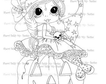 INSTANTÁNEA descargar Digital Digi sellos ojo grande Big Head Dolls Digi Besite Trixie y su gatito llamado Spider por Sherri Baldy