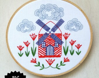 WINDMILL - pdf embroidery pattern, embroidery hoop art, dutch windmill, tulips and windmill, holland inspired, red windmill with tulips