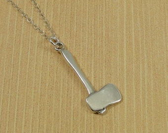 Axe Necklace, Sterling Silver Axe Charm on a Silver Cable Chain