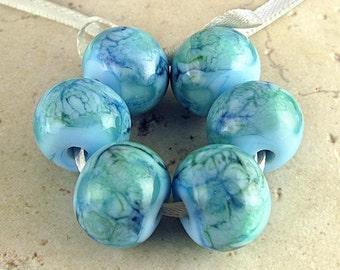 Lampwork Glass Bead Set of 6 Handmade Sky Blue Teal Seaweed Green Swirls Tide Pool 14x11mm Sea Breeze
