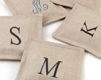 Personalized Linen French Lavender Sachet // Monogrammed Lavender Sachet // Bridesmaid Gift Lavender Sachet // Gifts for Her