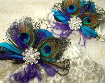 Hochzeit Strumpfband Spitze Braut Strumpfband, Pfau Garter set, Hochzeit Strumpfband, blau grün lila Petrol, Strumpfband werfen