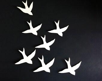 Flock - Wall art Swallows Porcelain bird wall sculpture Ceramic art for bathroom, bedroom, living room, kitchen decor set of 7