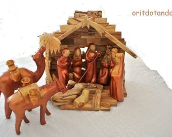 Nativity set, Christmas creche with stable hand carved hand painted of olive wood in Holy Land