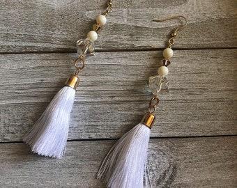 White & Gold Tassel Earrings