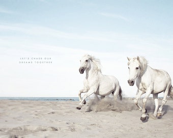 Chase Your Dream, Horse Photography, White Horses, White Wall Art, Equestrian Print, Camargue Horse, Horse Running, Two Horses, Horse Lovers