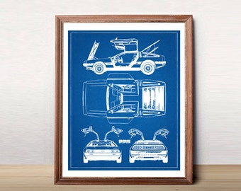 DeLorean Blueprint, Blueprint Art, DMC DeLorean, Instant Download, Blueprints, Back to the Future Car, DeLorean, Car Art, 8x10, 11x14""