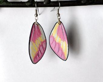 Moth Wing Earrings, Handcrafted Jewelry, fish hooks, Sterling Silver, Hypoallergenic or 14k Gold, Dangle earrings, Pink & Yellow earrings