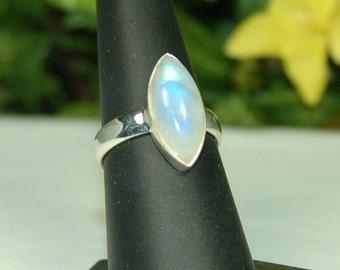 Moonstone Ring, Size 8, Vivid Blue Flash, Marquise Moonstone, Sterling Silver, June Birthstone, Rainbow Moonstone, Natural Moonstone