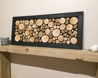 Painting pallet, black frame, consisting of log, to order / logs, Nature, rustic, wood.