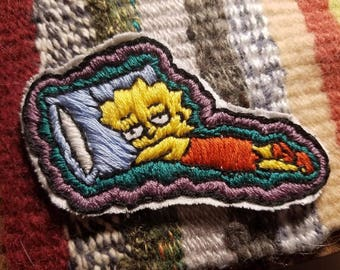 Hand Embroidered Bored Lisa Simpson Patch
