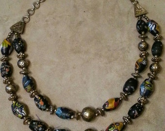 Hand Painted Necklace, Art Deco, Heavy Vintage Hand Painted Double Strand Beaded Necklace With Silver Accents