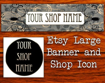 GOLD BLACK SWIRLY Etsy Large Banner & Shop Icon- Cover Photo-Premade Etsy Set-New Age Etsy-Rock Crystal Large Cover-Natural-Mystical