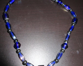 Cobalt and Hematite beaded necklace