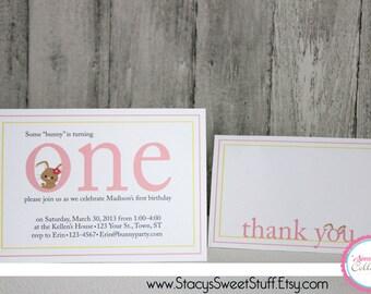 Bunny Birthday Invitation (pink), DIY, Printable