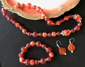"Pretty Necklace, Earrings and Bracelet Set Made with Tangerine ""Sea Glass"" and Painted Wood Beads"