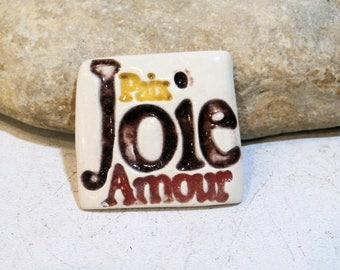 message, peace,love,joy, handmade ceramic cab for DIY