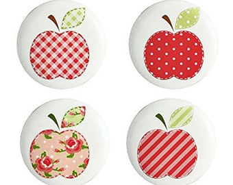 Set of 4 Cottage Chic Ceramic Apple Drawer Knobs or Pulls for Furniture and Cabinets