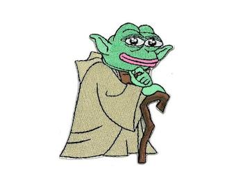 YODA Pepe Iron-On Patch Star Wars The Frog MAGA GOP Deplorables Force Trek Dark Crystal Smug Rare Sad Angry R2D2 C3PO Darth Vadar Vader