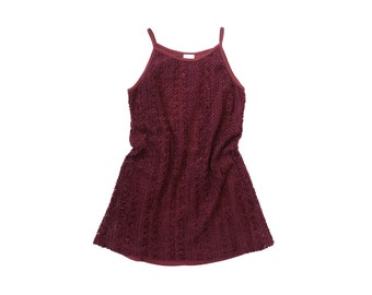 90s CHENILLE Mini Dress 1990s Party SUPER SHORT Fuzzy Woven Knit Crochet Sweater Jumper Mod Soft Grunge Kinderwhore Goth ClubKid Burgundy xs