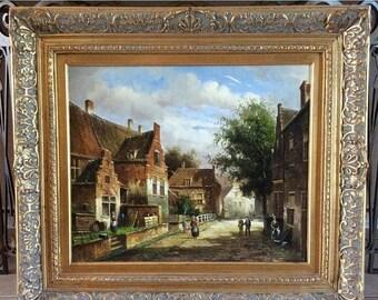 Sale Antique Style Oil Painting Rural Dutch Village Street Scene O/C European Genre Art Framed