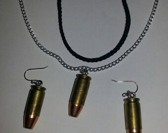 Brass 9mm Brass And Bullet Earrings / Optional Charm Handmade Jewelry