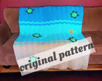 Crochet Sea Turtle Ripple Afghan PATTERN, nursery blanket, baby blanket, ripple afghan. Ripple blanket, crochet Afghan, crochet blanket